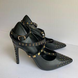 Scene black studded heels shoes size 8.5 NWOT